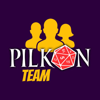 Stylizowany napis Pilkon Team, opatrzony logiem Pilkonu oraz ikoną zespołu ludzi.