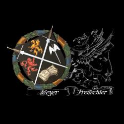 Meyer Freifechter Guild Piła organizatorem wioski szermierczej na Pilkonie. Logo Meyer Freifechter Guild.