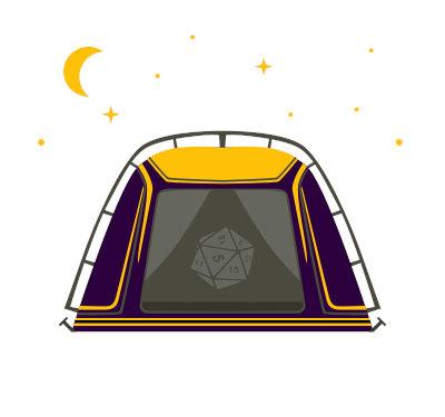Rysunkowy namiot symbolizujący pole namiotowe na Pilkonie.