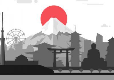 Panel Dalekowschodni na Pilkonie jest już gotowy. Stonowana grafika przedstawiająca atrakcje Japonii.