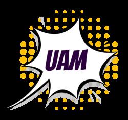 Wykrzyknik z napisem UAM, wskazującym na miejsce, w którym odbędzie się Pilkon 2021.